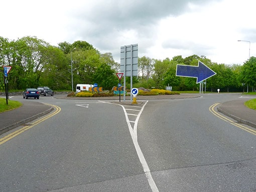 Ballydowney Roundabout, Killarney, direction from town